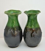 VINTAGE PAIR OF ART POTTERY VASES DRIP GLAZE GREEN BROWN