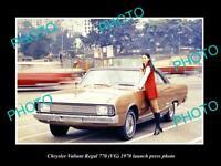 OLD POSTCARD SIZE PHOTO 1970 VG 770 CHRYSLER VALIANT REGAL LAUNCH PRESS PHOTO