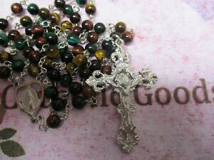 Pewter (6 mm Natural Tiger Eye bead) - Our Lady centerpiece -  Rosary