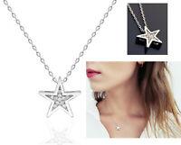 925 Silber Echte Stern Stella Damen Kette Zirkonia® Anhänger Halskette