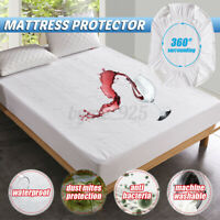 Waterproof Bamboo Jacquard Mattress Topper Protector Cover Pad Hypoallergeni