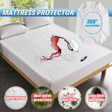 Waterproof Bamboo Jacquard Mattress Topper Protector Cover Pad Hypoallergeni #
