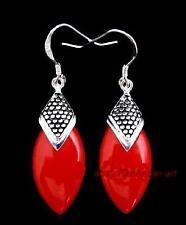 boucles d'oreilles de rouge corail et argent 925