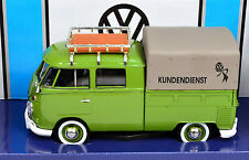 VW T1 grün DoKa Pritsche mit Dachträger und Plane 1:24 von Motormax