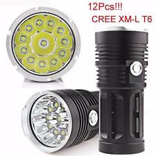US POSTAL 30000LM 12 LED CREE XM-L Torch Flashlight 4x 18650 Hunting Light Lamp