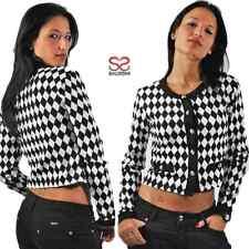 Maglia da donna giacca con bottoni bianco e nera elegante maniche lunghe cargiga