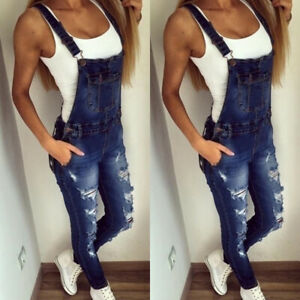 Womens Slim Fit Frayed Denim Jeans Trousers Dungarees Jumpsuits Overalls Pants