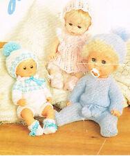 "Dolls clothes knitting pattern.12-14-16"" doll.  Laminated copy. (V Doll 38)"