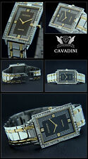 Cavadini Mens Watch Stainless Steel Rectangular Zirconia Bicolour Noble Classic