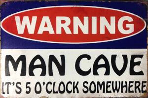 WARNING MAN CAVE Garage Rustic Vintage Metal Tin Sign Man Cave,Garage,Shed Bar
