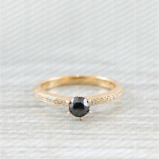 14k Yellow Gold 2ct Round Cut Black Diamond Engagement Wedding Ring