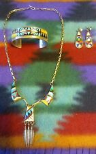 NATIVE AMERICAN VINTAGE ZUNI STERLING SILVER SET CUFF NECKLACE EARRINGS