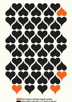 Heart Stencil Love Allover Pattern Paint Wall Furniture Cards Reusable Art TE359