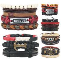 Mens Womens Stretch Multi Double Row Pure Real Leather Bracelets Bead Wristband
