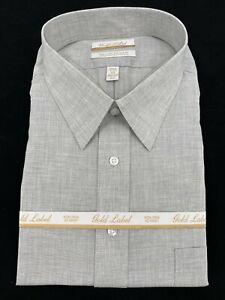 Gold Label Men's Button Up Dress Shirt Size 19 36/37 Big Gray Long Sleeve New