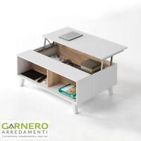 Tavolino INES tavolo contenitore bianco lucido rovere natura sala soggiorno