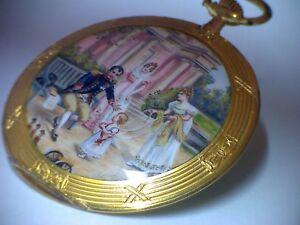 Flache Taschenuhr Movado Chronometer um 1920. Gold-Emaille Napoleon