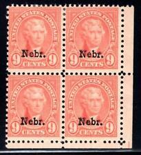 1¢ WONDER'S ~ US #678 MNH/MH BLK4 9¢ NEBRASKA OVPT (2 MNH 2 MH) HUGE CV ~ O833