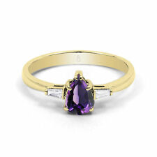 Pear Natural Amethyst Fine Rings