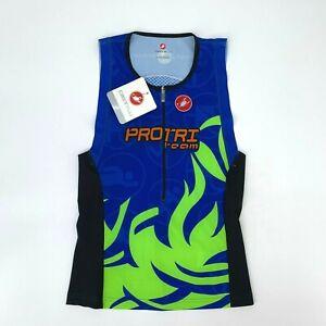 Castelli Cycling Racewear Jersey Men's Size XL Free Tri Sleeveless 1/2 Zip Shirt