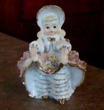 Vintage 1950's Geo. Lefton Bloomer Parasol Girls Figurines - Porcelain Kw 1698