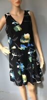 Next Womens Fit And Flare V Neck Tailored Mini Dress Uk Size 10 Black Mix Gt Con
