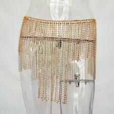 Club Party Spark Bling Full Rhinestone Bralette Bra Chain Tassel Skirt Belt
