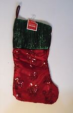 Red Silk & Green Metallic Sequin Snowflakes Lined Christmas Stocking Decoration