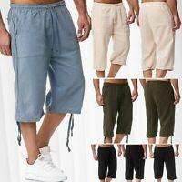 Herren Shorts 3/4 Loose Fit Bermuda Pant Sommer Hose Casual Freizeit Locker Kurz