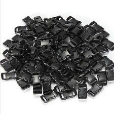 "100x 3/8""Contoured Curved Side Release Plastic Buckle for Paracord Bracelet RS"