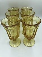 (6) Vintage Imperial Old Williamsburg YELLOW Footed Iced Tea Glasses