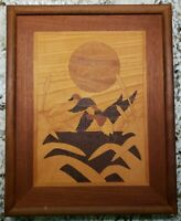 "Marquetry Wood Inlaid Ducks Mahogany Framed Artist Signed 15""x12"""