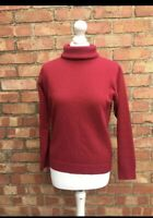 Woolovers Red 100% Wool Rollneck Long Sleeved Jumper Size Small Pullover B35