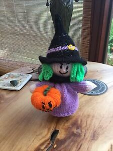 New Hand Knitted Halloween Witch Orange  Cosy / Puppet ,Soft Toys, Decoration