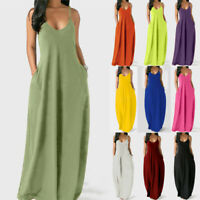 Womens Ladies Maxi Holiday Sleeveless Strappy Beach Dress Long Slip Sundress Cen