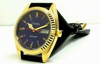 CITIZEN AUTOMATIC MEN,S GOLD PLATED VINTAGE BLUE  DIAL MADE JAPAN WATCH RUN