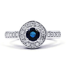 White Gold Round Sapphire Solitaire with Accents Fine Gemstone Rings