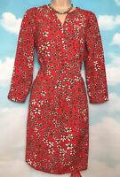 JOE BROWNS 10 BNWT Red & Bee Floral Long Sleeve Midi Shirt Dress