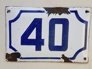 vintage PRE ISRAEL STATE PALESTINE enamel porcelain number 40 house sign # 40