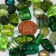 100g variety mixed beads. various sizes light dark green jewellery making