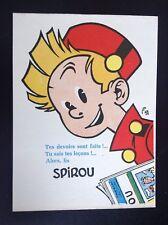 RARE Ancienne Carte postale Buvard Spirou version vert non daté ETAT NEUF