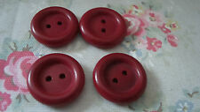 4 RED 1940's Wood / Wooden Buttons