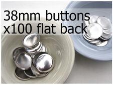 38mm self cover metal BUTTONS FLAT backs (sz 60) 100 QTY + FREE instructions
