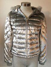 NWOT Bebe Silver Silk/Rayon Down Real Fur Jacket Coat Detachable Hood Size Small