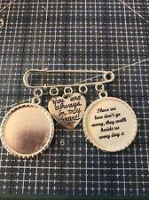 Wedding Pin Memory Charm Bouquet Bride Groom Button Hole Photo Verse