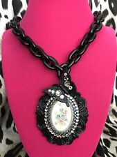 Tarina Tarantino Vintage Black Victorian Butterfly Floral Lucite Cameo Necklace