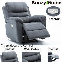 Electric Power Recliner Chair Velvet Fabric Padded Arm Heavy Duty Sofa 3 Motors