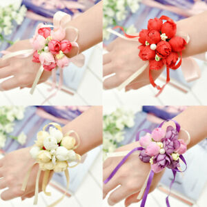 Women Hand Flower Bride Pearl Wrist Corsage DIY Wedding Flowers Wristband Decor