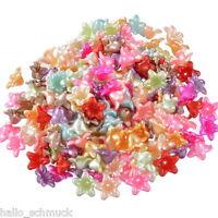 HS 200 Mix Acryl Blumen Spacer Perlen Beads Zwischenteile 13x1.3cm