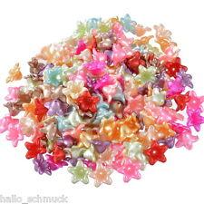 HS 200 Mix Acryl Blumen Spacer Perlen Beads Zwischenteile 13x13mm
